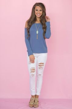 Don't Be Shy Cold Shoulder Top Faded Blue - The Pink Lily