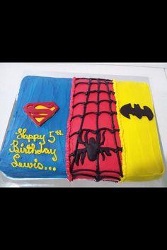 Superman Spiderman Batman birthday cake
