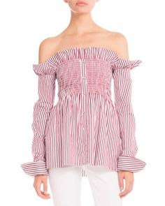 Striped+Smocked+Off-the-Shoulder+Blouse,+Maroon+by+Victoria+Victoria+Beckham+at+Neiman+Marcus.