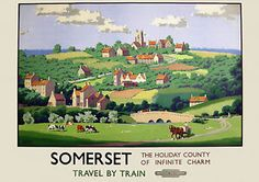 Somerset Travel by Train -  Old, Vintage Railway Travel Poster reproduction  | eBay