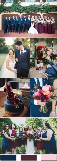 Navy And Burgundy Wedding Theme Peacock - nobleness and eternity: stunning navy blue wedding color ideas Navy And Burgundy Wedding, Maroon Wedding, Navy Blue Weddings, Navy Blue Wedding Theme, Gold Wedding, Fall Wedding Colors, Wedding Color Schemes, Wedding Flowers, November Wedding Colors