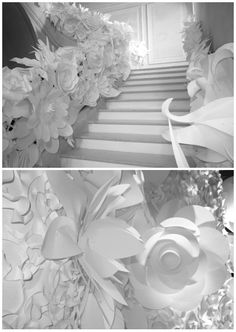 Chanel Haute Couture Paper Flower Staircase. Runway Show, 2009 Spring/Summer.