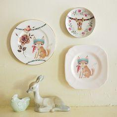 Storybook rabbit Etsy handmade Vintage Recycled Plate Illustration Fox Fantasy Floral Aqua Bunting Handmade Painted Decor