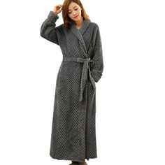 Teenloveme Womens Shawl Collar Soft Fleece Bathrobe Dressing Gown Belted Bath Robe Housecoat (L/XL, 1516-Grey)