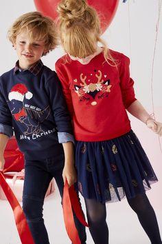 ebe5d7b26eab4 Sweat de Noël fille motif cerf irisé rouge brique - Vertbaudet