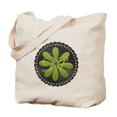 Green Love Floral Monogram Tote Bag, editable monogram, for personalized gifts.