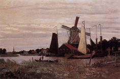 A Windmill at Zaandam by Claude Monet by Claude Monet (Private Collection - Sold at Auction Sotheby's) - Impressionism