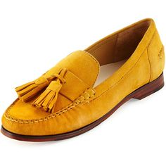 Cole Haan Pinch GRAND O/S Tassel Loafer found on Polyvore featuring shoes, loafers, flats, autumn gold suede, slip on shoes, flat loafers, loafer shoes, flat pumps and strappy flats