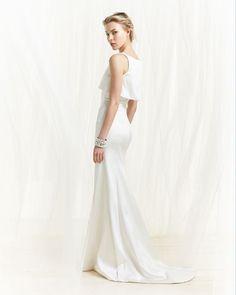 Sleek Zac Posen white double-layer gown in optic white.