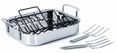 Calphalon Tri-Ply Stainless Steel Roaster w/ Nonstick Rack & Stainless Steel Lifters only $54 Shipped! (reg $140)