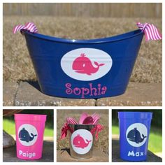 I could ask lady I met at craft show if she could make these for me.  Preppy whale party bucket/ tub by ihaveafavor on Etsy, $10.00