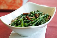 Chinese wok-fried French beans - minced pork, dried chilis, garlic, and ginger. Delicious!