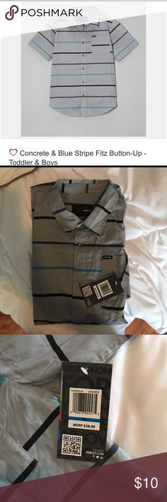 Boys Hurley short-sleeved button up NWT! Hurley short-sleeve button up shirt. Youth sized XL. Gray, teal and black. So cute!!!! Never been worn. Hurley Shirts & Tops Button Down Shirts