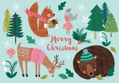 A lovely colorfull christmas card full of forest animals! illustrated by Rebecca Jones