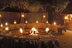 Lovely party idea, bon fire in the middle