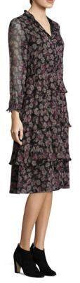 LoveShackFancy Silk Floral Tiered Dress