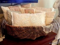 BCH Original pillows piled in an old basket