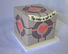 Companion Cube Grooms Cake Companion Cube, Restaurant Kitchen, Goodies, Portal 2, Grooms, Sweet, Cakes, Wedding, Ideas