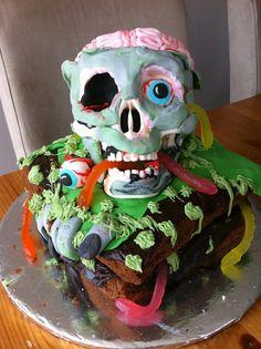 """Chocolate fudge, zombie """"brain"""" birthday cake."""