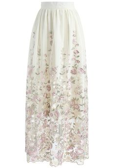 Lost in Secret Garden Embroidered Mesh Maxi Skirt - New Arrivals - Retro, Indie and Unique Fashion
