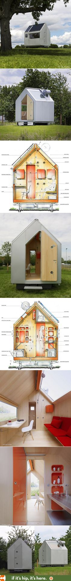 This tiny House for Vitra by Renzo Piano has solar power, photovoltaic panels, a composting toilet, bed, kitchen and more in under 10' x 9',