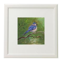 A Bird On A Tree Branch. Spring. Original Acrylic Painting. Home Decor. Wall Art. by MikaArtstore on Etsy