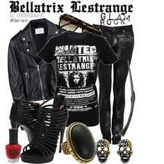 HARRY POTTER- Bellatrix Lestrange: LOVE THE SHIRT, SHOES, RING, AND EARRINGS (HAVE THE JACKET AND PANTS SIMILAR)