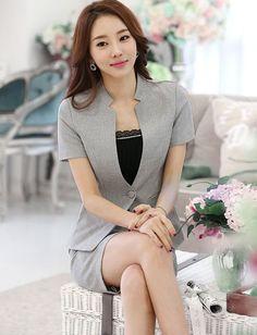 Office Single-Button Pure Color Short Sleeve Blazer