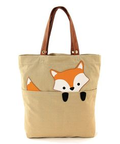 OMG, Well this is adorable!!!! Look at this #zulilyfind! Khaki Peeking Baby Fox Tote #zulilyfinds