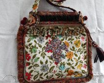 Victorian Carpet Bag, Beaded Fleur-de-lis, European Purse, Boho, Gypsy Cross Bag