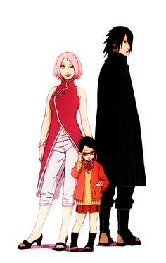 Sakura, Sarada e Sasuke Anime Naruto, Sasuke Sakura Sarada, Naruto Fan Art, Kakashi Sensei, Naruto Shippuden Anime, Naruto And Sasuke, Hinata, Manga Anime, Fanarts Anime