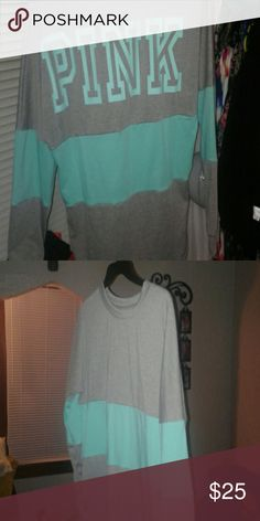 Colorblock long sleeve tee Gray and teal long sleeve tee (knockoff pink vs ) Tops