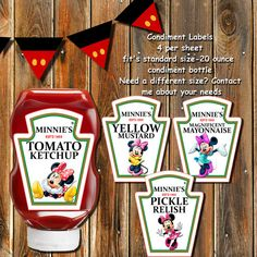 On SALE-MINNIE MOUSE Condiment by MyPrintablePartyLine on Etsy