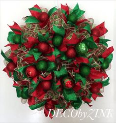 Deco Mesh Wreath Christmas Wreath Red and Green por DECObyZINK