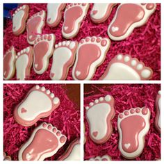 Pink and white baby girl feet cookies for a shower