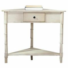 "Corner accent table in vintage gray with 1 drawer, a lower shelf, and bamboo-style legs.     Product: Corner tableConstruction Material: Pine woodColor: Vintage grayFeatures: Constructed with a sturdy wood frameDimensions: 28"" H x 33.1"" W x 17.3"" D"