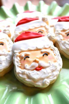 A Dozen Jolly Santa Vanilla Sugar Cookies by CraftedCookies