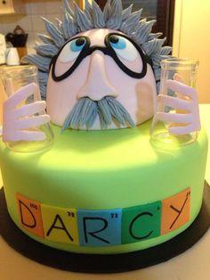 Mad scientist cake. Albert Einstein cake. Science cake. Dry ice magic. Boys birthday cake. Science party ideas. 2015.