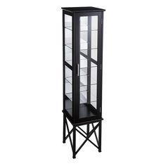 Anthony 6-Shelf Lighted Curio Cabinet, Black