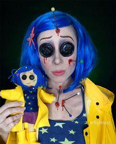 Coraline Halloween Costume, Badass Halloween Costumes, Amazing Halloween Makeup, Halloween 2019, Halloween Party, Coroline Costume, Clown Costume Women, Costumes For Women, Cosplay Costumes