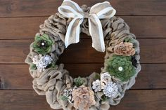 Made to Order Burlap Wreath with felt flowers by KKeithDesigns on Etsy https://www.etsy.com/listing/223910068/made-to-order-burlap-wreath-with-felt