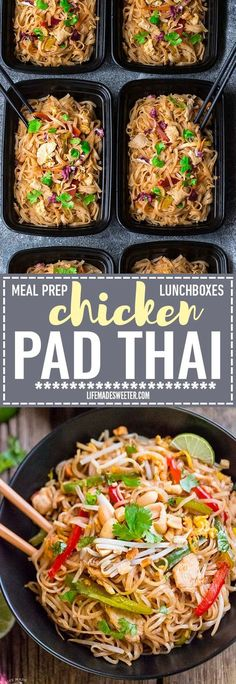 Easy and Authentic Chicken Pad Thai makes the perfect simple weeknight meal and great for Sunday meal prep and leftovers are great for school lunchboxes and work lunch bowls. Best of all, this recipe has gluten free paleo-friendly options and can cook up Best Meal Prep, Sunday Meal Prep, Lunch Meal Prep, Meal Prep Bowls, Healthy Meal Prep, Healthy Snacks, Healthy Recipes, Free Recipes, Sunday Lunch Ideas