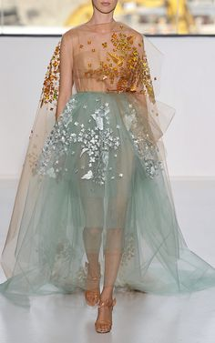 Yellow Print Embroidered Bobbinet Tulle Gown With Blue Skirt by DELPOZO for Preorder on Moda Operandi