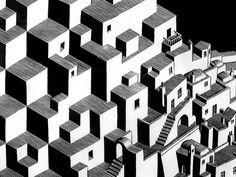 Metamorphose I detail Building Illustration, Illustration Art, Metamorphosis Tattoo, Mc Escher, Science Art, City Buildings, Texture Design, Textures Patterns, Fractals
