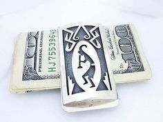 Hopi Kokopelli Money Clip Sterling Silver Overlay Domed Native American Indian