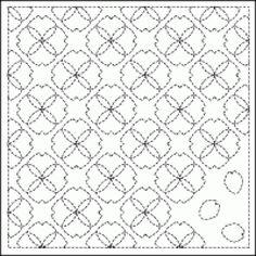 Pre-Stencilled Sampler - Flower and Petal pattern. 31cm x 31cm. www.indigoniche.com