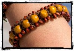 Crochet Bracelet Bohemian Brown - The Laughing Gecko Gift Shoppe Crochet Bracelet, Laughing, Bohemian, Beads, Brown, Bracelets, Gifts, Color, Beading