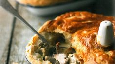 Chicken and wild mushroom pie - Recipes - Hairy Bikers Chicken And Mushroom Pie, Mushroom Recipes, Wild Mushrooms, Stuffed Mushrooms, Stuffed Peppers, Hairy Bikers Comfort Food, Pie Recipes, Cooking Recipes, Cooking Ideas