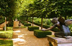 The French Garden at Kimpton House in Hampshire This avenue of pleached trees and topiary is just a small part of these beautiful gardens near Fordingbridge, which are occasionally open to the public