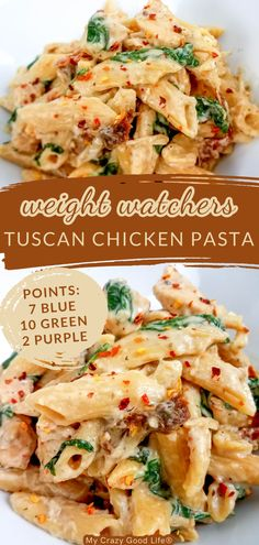 This Weight Watchers Tuscan Chicken Pasta is an easy weeknight meal! Make this easy dinner in the Instant Pot, Crockpot, or on the stove! Blue, Purple, and Green Plan Points Included. #ww #weightwatchers #myww Weight Watcher Crockpot Recipes, Weight Watchers Pasta, Weight Watcher Dinners, Chicken Pasta Dishes, Tuscan Chicken Pasta, Chicken Recipes, Supper Recipes, Ww Recipes, Recipies
